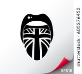 tongue with english flag icon | Shutterstock .eps vector #605376452