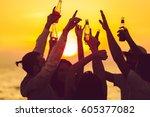 friends beach party drinks... | Shutterstock . vector #605377082