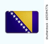 national flag of bosnia and... | Shutterstock .eps vector #605394776