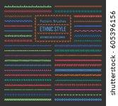 set of vector pattern brushes... | Shutterstock .eps vector #605396156