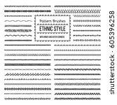 set of vector pattern brushes... | Shutterstock .eps vector #605396258
