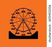 ferris wheel icon. orange... | Shutterstock .eps vector #605403206