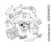 pirate set  different objects ...   Shutterstock .eps vector #605404052