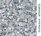 cartoon cute doodles hand drawn ... | Shutterstock .eps vector #605406812