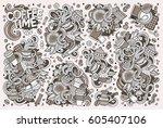 line art vector hand drawn...   Shutterstock .eps vector #605407106