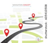 navigation concept with pin... | Shutterstock .eps vector #605410508