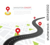 navigation concept with pin... | Shutterstock .eps vector #605410532