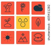 set of 9 nature icons. includes ... | Shutterstock .eps vector #605411282