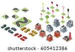 set isometric road and vector... | Shutterstock .eps vector #605412386