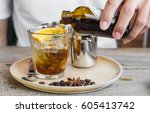 cold brew coffee on wooden... | Shutterstock . vector #605413742