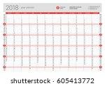 yearly wall calendar planner... | Shutterstock .eps vector #605413772