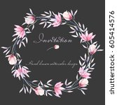 circle frame  border  wreath... | Shutterstock . vector #605414576