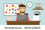 man with stress at work vector...   Shutterstock .eps vector #605416865