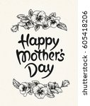 happy mothers day card with... | Shutterstock .eps vector #605418206