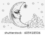 moon with face  clouds and... | Shutterstock .eps vector #605418536