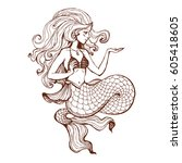 hand drawn beauty mermaid with... | Shutterstock .eps vector #605418605