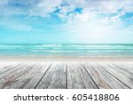 old wood table top on blurred... | Shutterstock . vector #605418806
