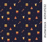 pixel art seamless background... | Shutterstock .eps vector #605419232
