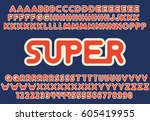 decorative font with outline... | Shutterstock .eps vector #605419955