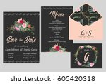 wedding invitation card suite. | Shutterstock .eps vector #605420318