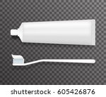 tube of toothpaste and... | Shutterstock .eps vector #605426876