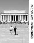 Small photo of WASHINGTON, USA - JUNE 15, 2013: People visit Abraham Lincoln memorial on June 15, 2013 in Washington. 18.9 million tourists visited capital of the United States in 2012.