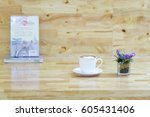cup of coffee with books and... | Shutterstock . vector #605431406