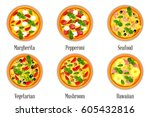 set of pizza with different... | Shutterstock .eps vector #605432816