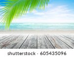 old wood table top on blurred... | Shutterstock . vector #605435096