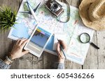 travel planning concept on map | Shutterstock . vector #605436266