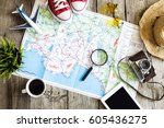 travel planning concept on map | Shutterstock . vector #605436275