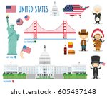 usa flat icon set travel and... | Shutterstock .eps vector #605437148