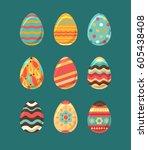 easter eggs set  collection... | Shutterstock .eps vector #605438408