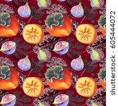 seamless watercolor pattern of... | Shutterstock . vector #605444072