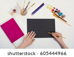 top view of the desktop. a set... | Shutterstock . vector #605444966
