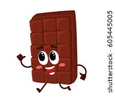 cute chocolate bar character... | Shutterstock .eps vector #605445005