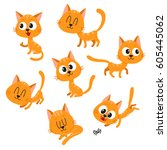set of cute and funny orange... | Shutterstock .eps vector #605445062