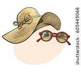 Fashionable Straw Hat With Wid...
