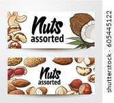 banners with coconut  cashew ... | Shutterstock .eps vector #605445122