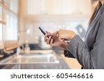 business woman in modern... | Shutterstock . vector #605446616