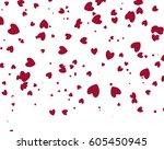 red heart on white background | Shutterstock . vector #605450945