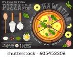 traditional italian food  ... | Shutterstock .eps vector #605453306