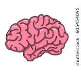 flat style human brain... | Shutterstock .eps vector #605454092