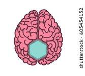 computer chip inside brain flat ... | Shutterstock .eps vector #605454152