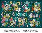 vector hand drawn doodle... | Shutterstock .eps vector #605454596