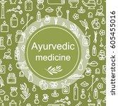 ayurvedic medicine   poster.... | Shutterstock .eps vector #605455016
