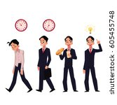 young businessman tired  going... | Shutterstock .eps vector #605455748