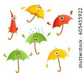cute and funny umbrella... | Shutterstock .eps vector #605455922