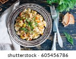 brown rice with vegetables ... | Shutterstock . vector #605456786