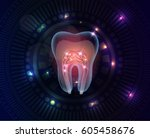 beautiful transparent tooth...   Shutterstock .eps vector #605458676
